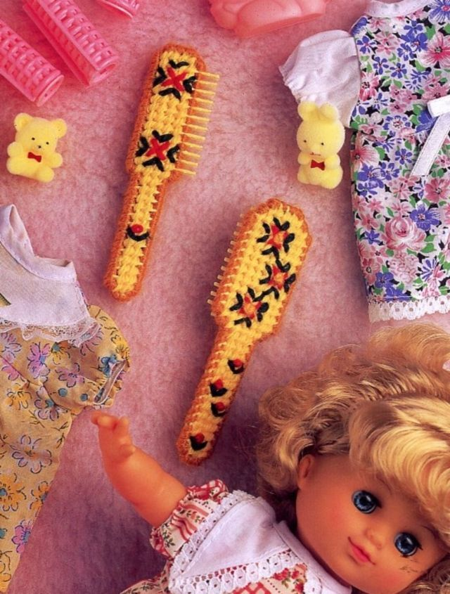 Baby Doll Brush Set Annie's NEW Plastic Canvas Pattern/Instructions Leaflet