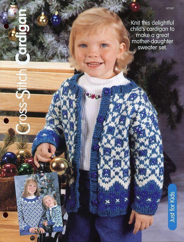 Child's 4,6,8 Cross-Stitch Cardigan Sweater HOWB Knitting Pattern NEW - $0.90