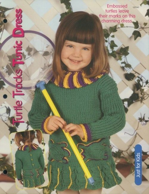 Primary image for Turtle Tracks Tunic Dress Girl's 4-8 Knitting Pattern NEW 30 Days to Shop & Pay