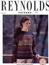 An item in the Crafts category: Women's Retro Snowflake Pullover S-XL Reynolds Paterna Knitting Pattern NEW