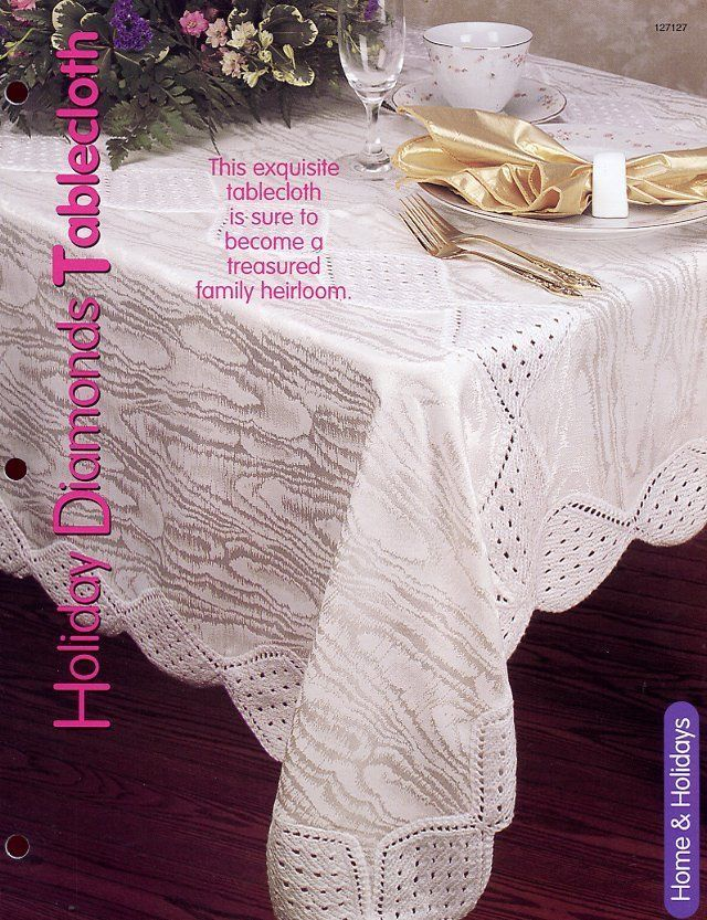 Primary image for Holiday Diamonds Tablecloth HOWB Knitting Pattern Leaflet NEW - 30 Days to Pay!