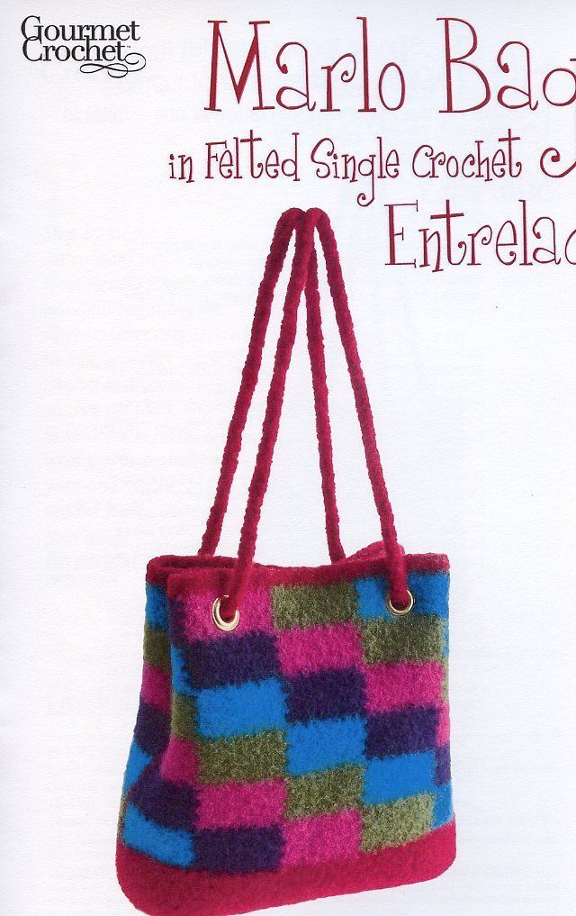 Primary image for Marlo Bag in Felted Single Crochet Entrelac Gourmet Crochet Pattern NEW