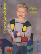 Textured Strips Pullover Kids SZ 2-10 Knitting Pattern NEW - 30 Days to ... - $2.67