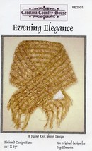 "Evening Elegance 12""x 65"" Knit Shawl Carolina Country House PATTERN LEAF... - $4.47"