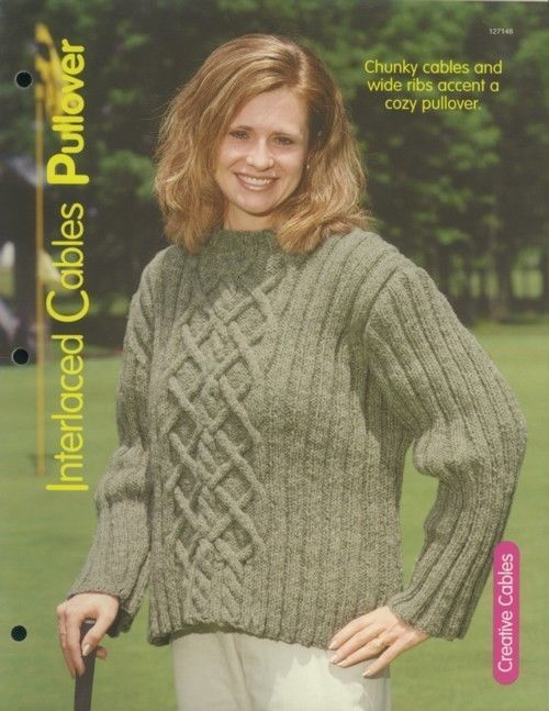 Primary image for Interlaced Cables Pullover Sweater Adult Sz S-XL Knitting Pattern Leaflet  NEW