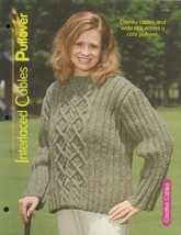 Interlaced Cables Pullover Sweater Adult Sz S-XL Knitting Pattern Leafle... - $2.67