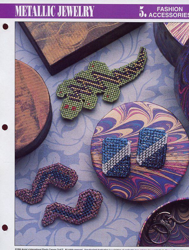 Metallic Jewelry Gecko Pin Earrings Annie's Plastic Canvas PATTERN/INSTRUCTIONS