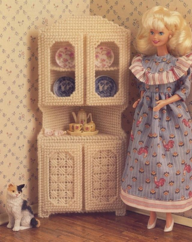 White Corner Cabinet for Barbie Doll Plastic Canvas Pattern/Instructions Leaflet