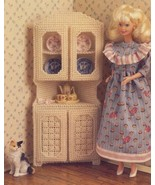 White Corner Cabinet for Barbie Doll Plastic Canvas Pattern/Instructions... - $2.22