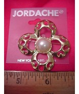 Jordache 4 Leaf Golden Brooch Pin with Faux Pearl New 30 Days to Shop & ... - $3.59