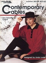 An item in the Crafts category: Contemporary Cables 2 Womens Sweaters Sizes S-L LA 2078 Knitting PATTERN LEAFLET