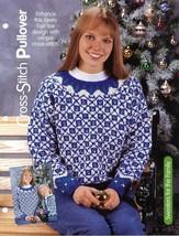 Woman's Fair Isle Cross-Stitch Pullover Sweater HOWB Knitting Pattern NEW - $3.57