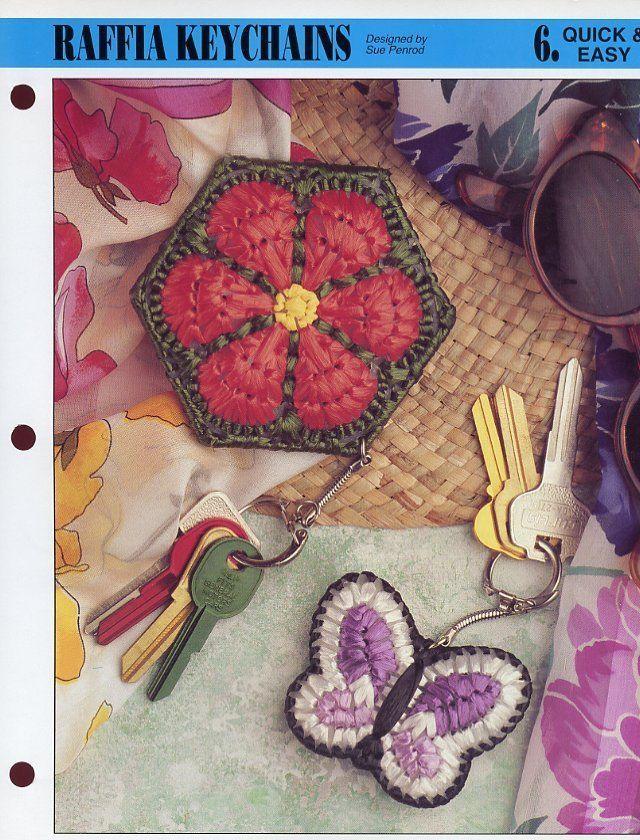 Raffia Keychains Annie's NEW Plastic Canvas Pattern - 30 Days To Shop & Pay!