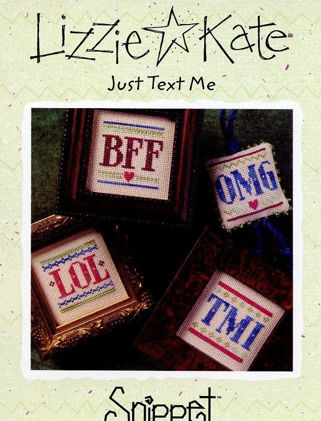 "/""Just Text Me/"" Cross Stitch Pattern by LIZZIE KATE Sayings"