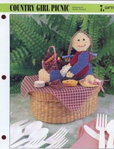 Country Girl Picnic Doll Annie's Plastic Canvas Pattern Leaflet NEW - $0.90