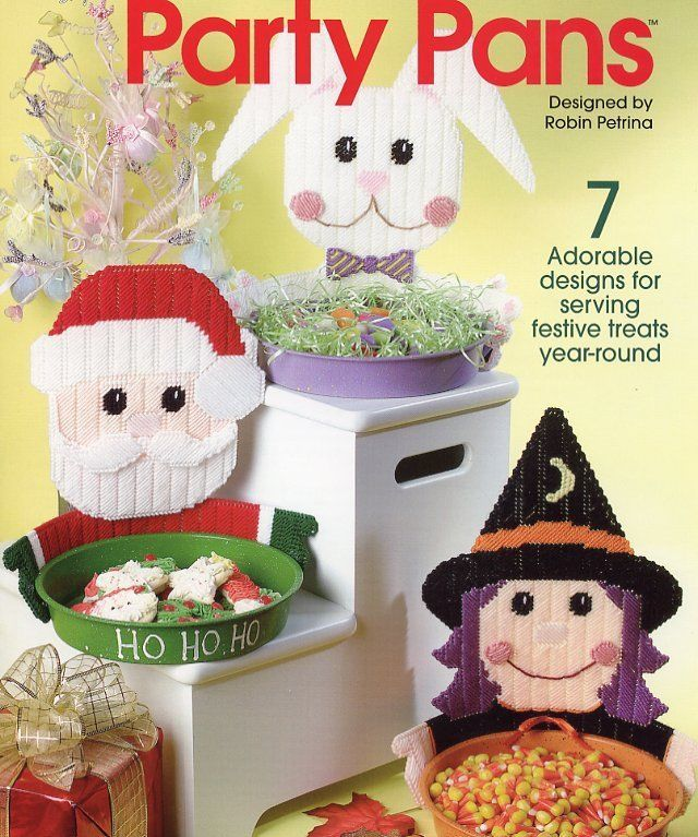 Party Pans Witch Santa Bunny Scarecrow Plastic Canvas PATTERN/INSTRUCTIONS NEW
