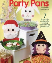Party Pans Witch Santa Bunny Snowman Scarecrow Plastic Canvas Pattern NEW - $2.67
