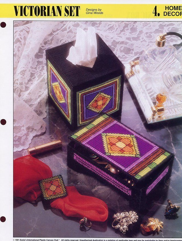Victorian Set Music Box Tissue Cover Plastic Canvas Pattern/Instructions Leaflet