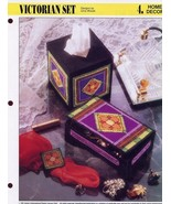 Victorian Set Music Box Tissue Cover Plastic Canvas Pattern/Instructions... - $1.77