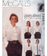 McCall's 7259 Woman's Blouse Size 10 Uncut Pattern Sewing 30 Days To Sho... - $2.67