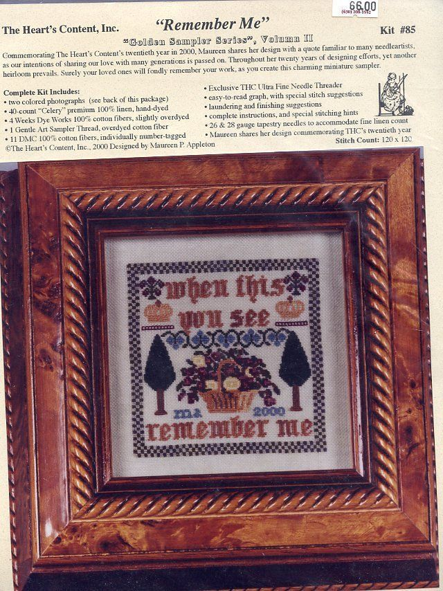 When This You See Remember Me Heart's Content Cross Stitch Kit NIP - $53.97