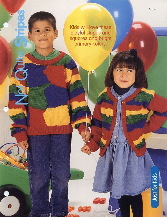 Primary image for Not Quite Stripes Child's Sweater HOWB Knitting Pattern Leaflet NEW