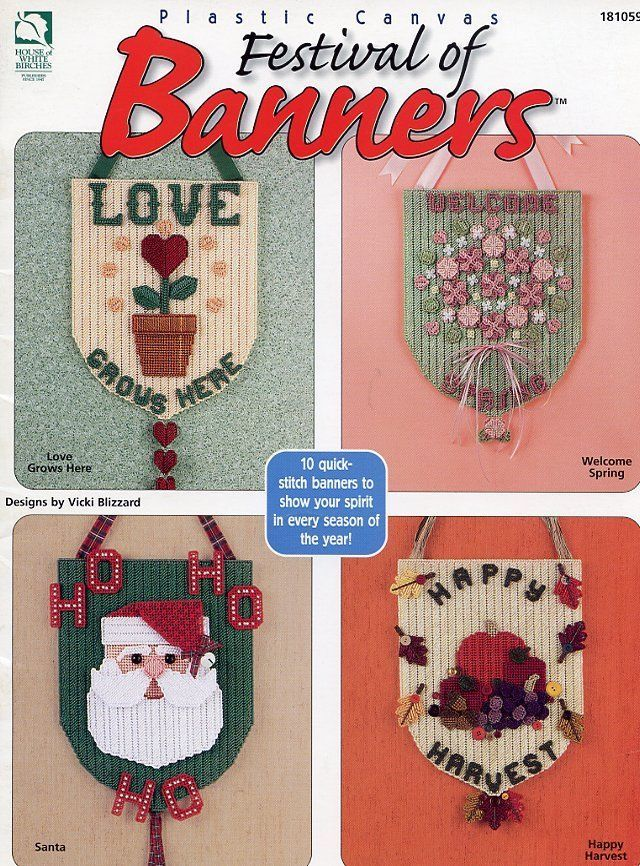 Festival of Banners Holidays, Birthday Plastic Canvas PATTERN/INSTRUCTIONS - $2.67