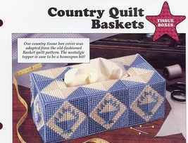 Country Quilt Baskets Tissue Cover Plastic Canvas PATTERN/INSTRUCTIONS/NEW - $0.89