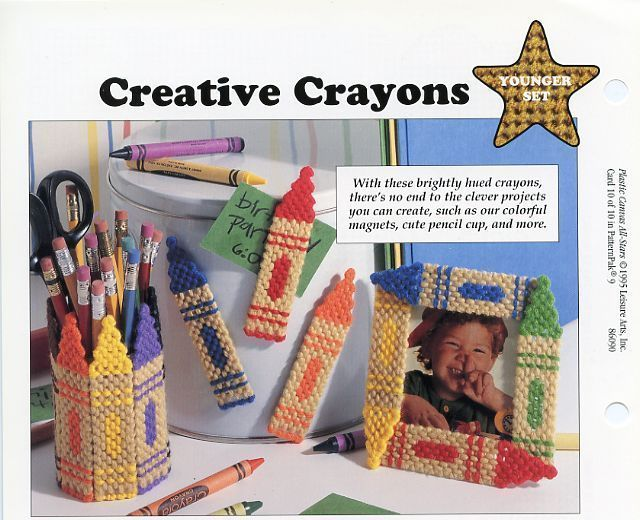 Pet Pals Cat Dog & Creative Crayons Plastic Canvas Pattern NEW - 30 Days To Pay!