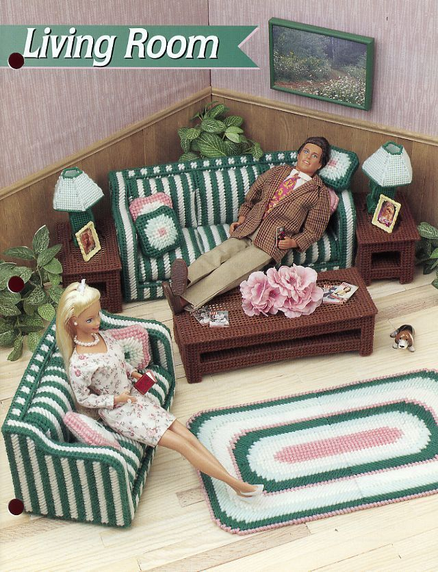 Living Room fits Barbie Annie's Plastic Canvas Pattern/Instructions Leaflet