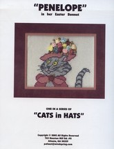 Penelope in her Easter Bonnet Cats in Hats Cross Stitch Pattern Leaflet ... - $5.37