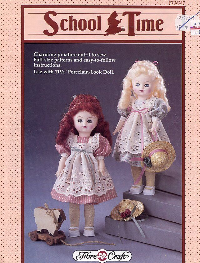 School Time Pinafore Dress Doll Outfit Fibre Craft Sewing Pattern Leaflet HTF