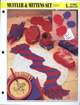 An item in the Crafts category: Muffler & Mittens Set Magnet Coasters Place Mat Napkin Holder P/C Pattern NEW