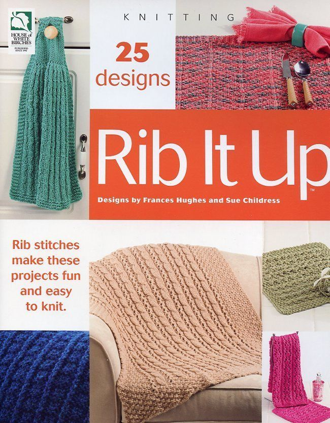 Rib It Up 25 Rib Stitch Designs Afghan Coasters Rug Knitting Pattern Book NEW - $6.27