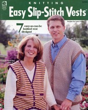 Easy Slip-Stitch Vests 7 Designs Knitting PATTERN/INSTRUCTIONS/NEW SZ 34-46 - $1.23
