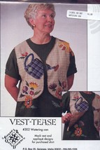 Garden Watering Can Mock Vest Vest-Tease Quilting Pattern NEW 30 Days to... - $8.07
