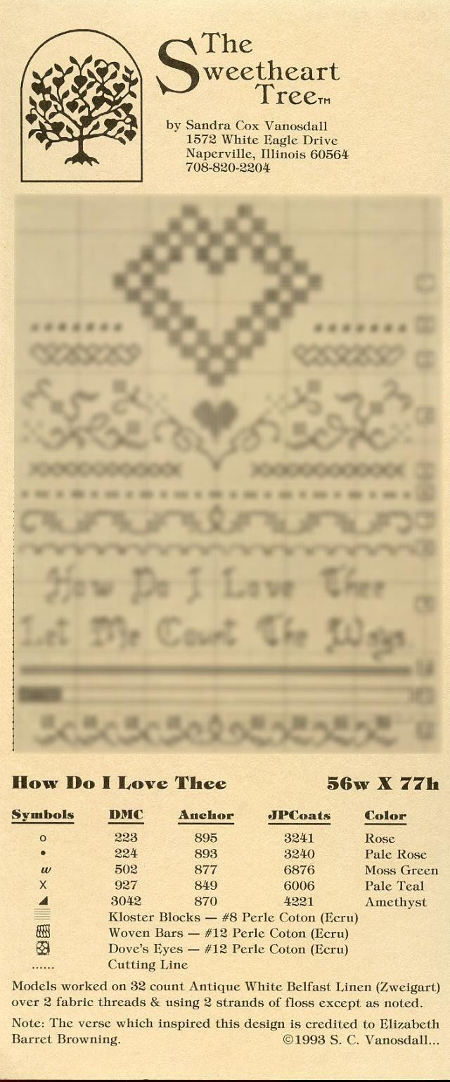 How Do I Love Thee Sweetheart Tree Cross Stitch Pattern Leaflet NEW