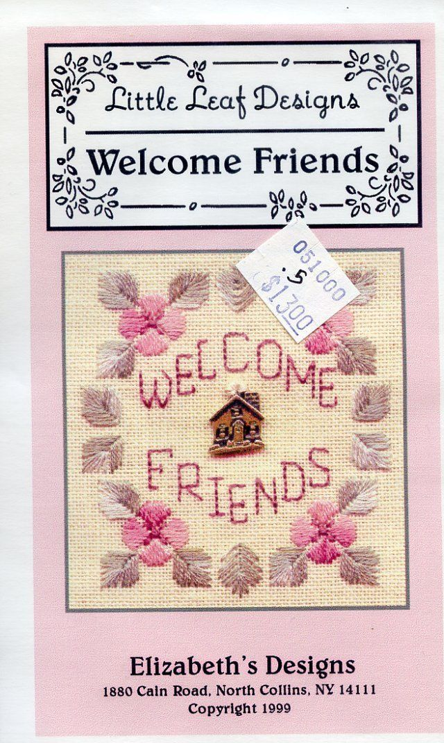 Welcome Friends Little Leaf Designs NEW Cross Stitch Pattern Kit with Charm - $6.27