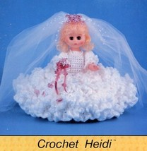 "Heidi 11"" Mini Bed Doll Bridal Outfit TD Creations Crochet Pattern Leaflet - $3.57"