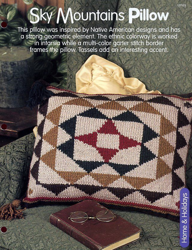 Primary image for Sky Mountains Indian Pillow HOWB Knitting Pattern Leaflet NEW - 30 Days to Pay!