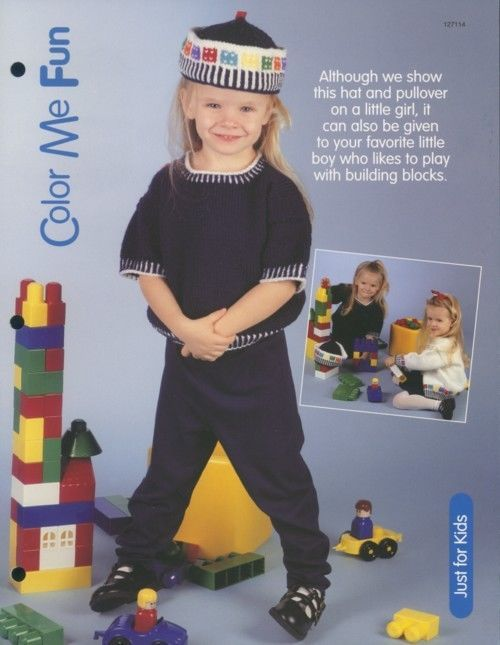 Primary image for Color Me Fun Hat & Pullover Knitting Pattern NEW Child's Size S-M-L
