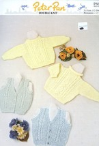 Baby Sweaters and Waistcoat Peter Pan #P866 Knitting Pattern 12-20 inch ... - $3.57