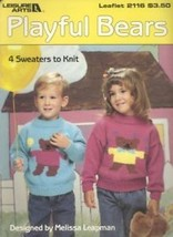 Playful Bears LA2116 4 Children's Sweaters Knitting Pattern Leaflet - $2.22