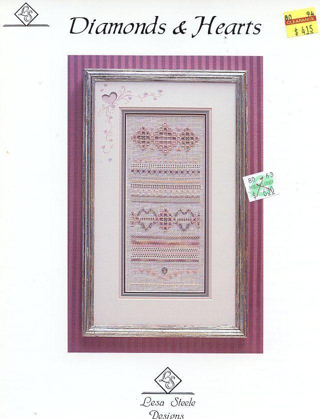 Diamonds & Hearts Cross Stitch Pattern Leaflet  NEW- 30 Days To Shop & Pay! - $4.47