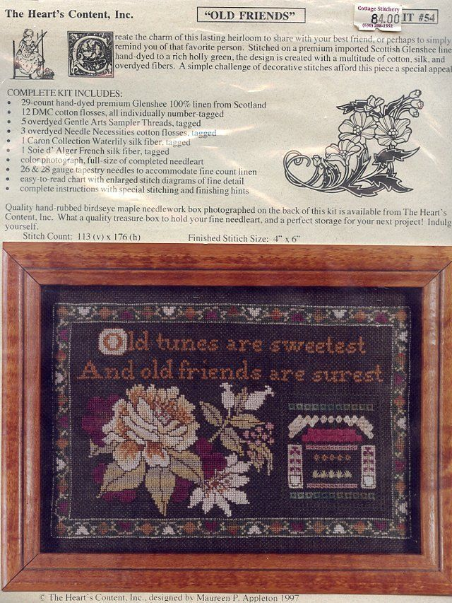 Primary image for Old Friends Are Surest Heart's Content Cross Stitch Kit NIP 30 Days to Pay!