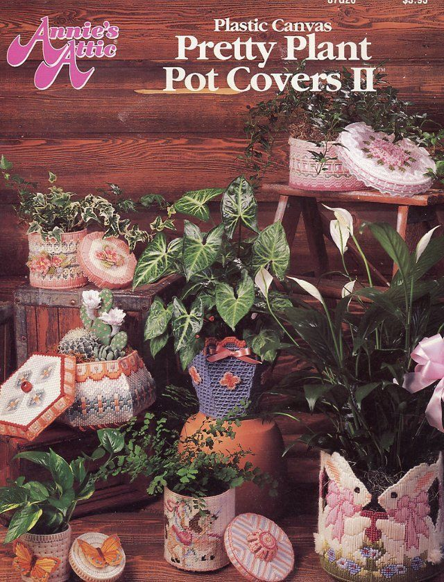Pretty Plant Pot Covers II Bunnys Horse Plastic Canvas PATTERN/INSTRUCTIONS