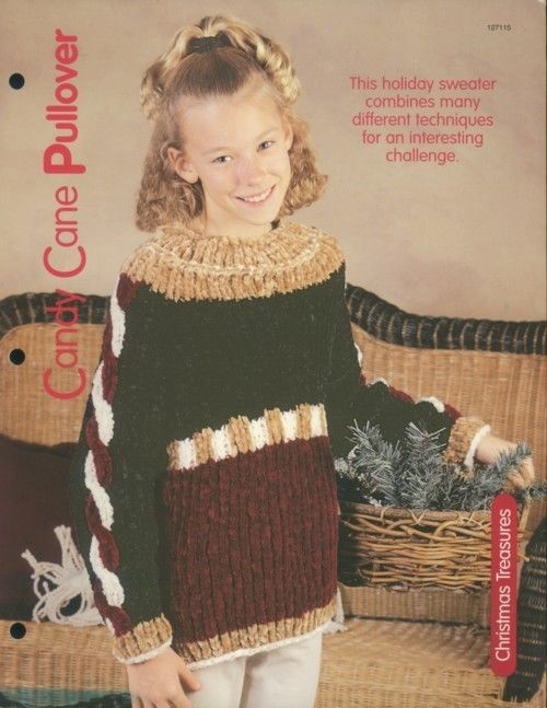Primary image for Candy Cane Pullover Sweater Knitting Pattern NEW Child's sz 4-10 30 Days to Pay