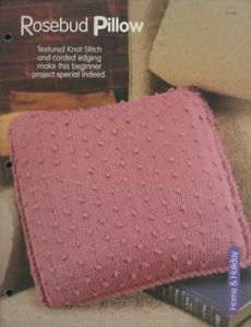 "Primary image for 17"" Rosebud Pillow HOWB Knitting Pattern Leaflet Beginner Level NEW"