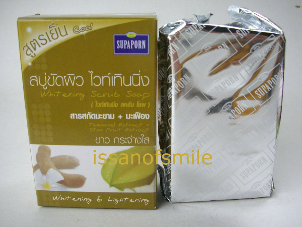 100g. Supaporn Whitening Herbal Scrub Soap Tamarind Extract + Star Fruit Extract