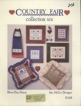 Country Fair Six Bless This House Sue Hillis Cross Stitch Pattern Leaflet - $2.22